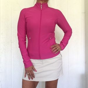 LUCY HOT PINK LUCY TECH ZIP UP KNIT JACKET X SMALL